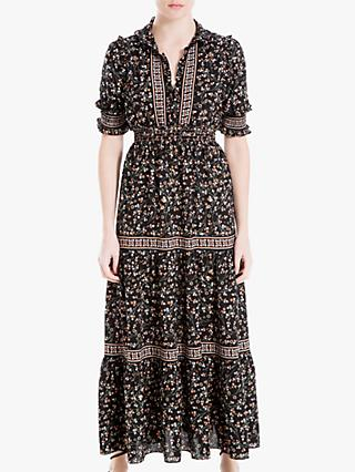 Max Studio Tiered Floral Maxi Dress, Black/Blush