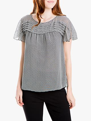 Max Studio Short Sleeve Graphic Print Top, Black/Ivory