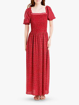 Max Studio Floral Square Neck Smocked Maxi Dress, Scarlet