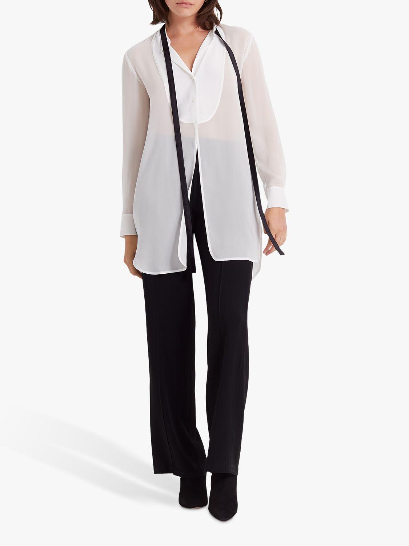 Club Monaco Club Monaco Tuxedo Silk Blouse, White
