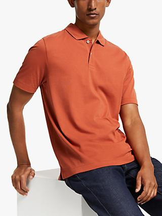 John Lewis & Partners Supima Cotton Jersey Polo Shirt, Dark Orange