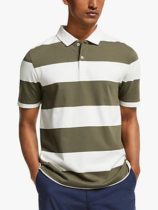 John Lewis & Partners Single Jersey Supima Cotton Stripe Polo Shirt, Olive/White