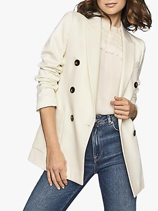 Reiss Astrid Double Breasted Smart Blazer, Ivory