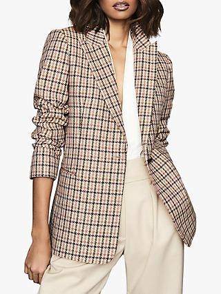 Reiss Taylor Check Single Breasted Blazer, Pink/Multi