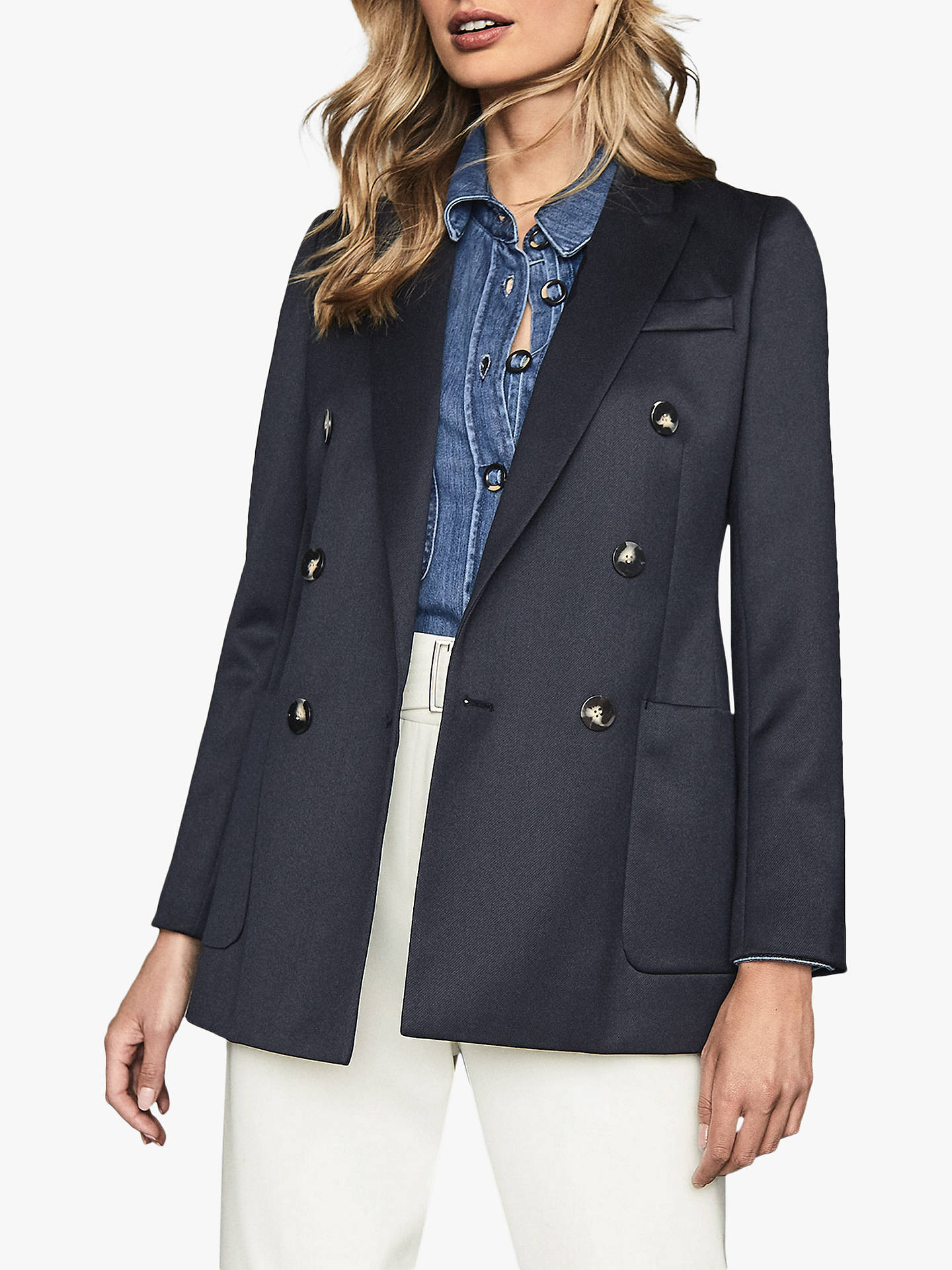 Buy Reiss Astrid Double Breasted Smart Blazer, Navy, 6 Online at johnlewis.com