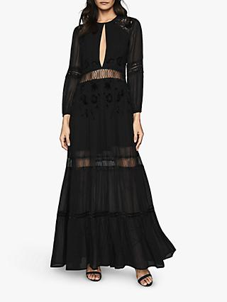 Reiss Francesca Lace Cut Out Maxi Dress, Black