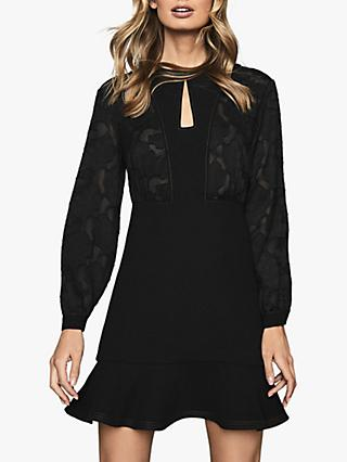 Reiss Pippa Burnout Detail Mini Dress, Black