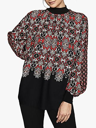 Reiss Maisie Patchwork Printed Turtle Neck Top, Red
