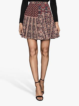 Reiss Izarra Patchwork Print Mini Skirt, Red/Multi