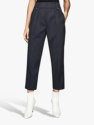 Reiss Hendrix Pleat Detail Front Tapered Trousers, Dark Blue