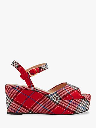 Mulberry Holly Tartan Wedges, Scarlet