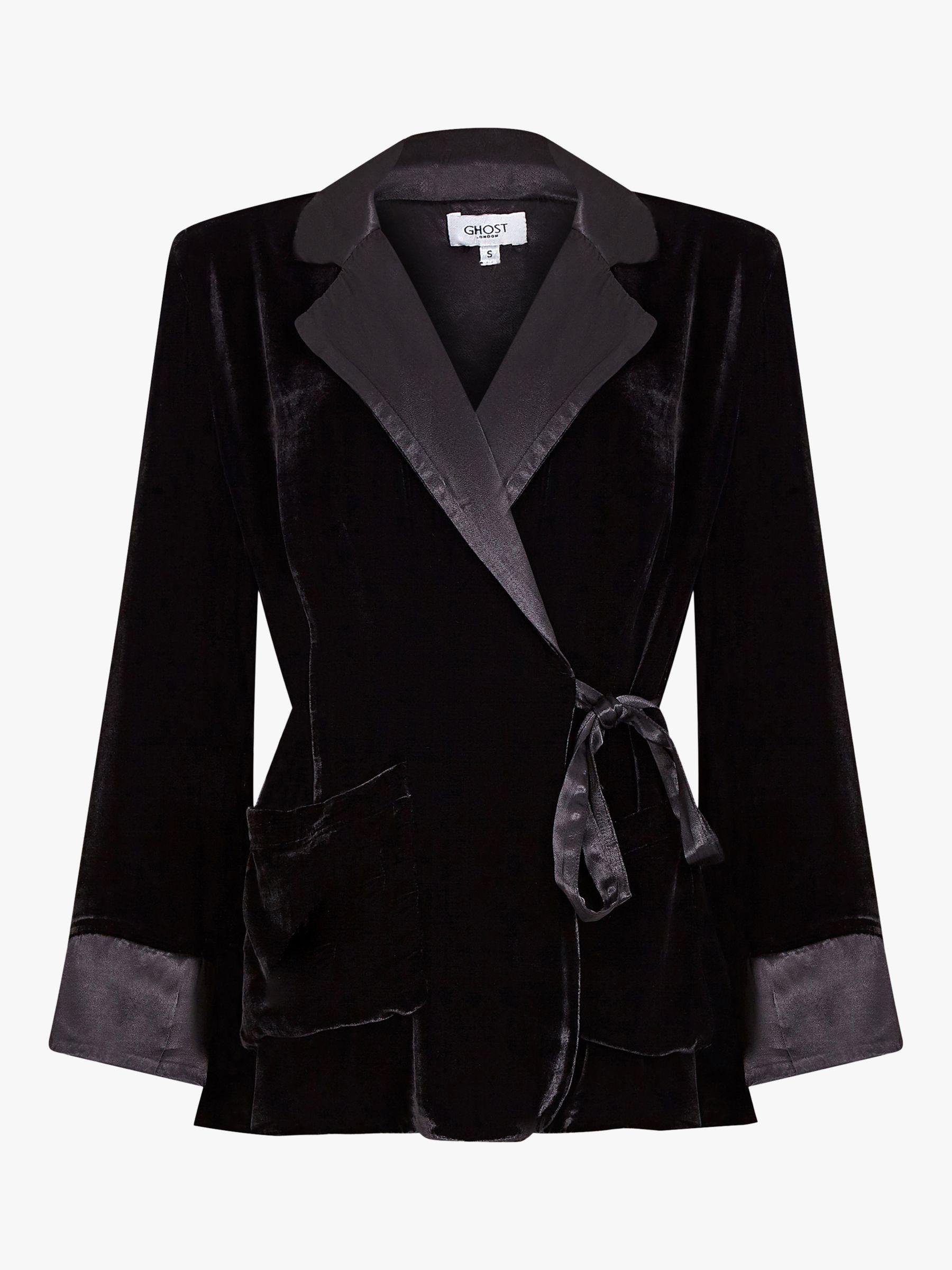 Ghost Ghost Alexis Silk Velvet Tie Waist Blazer, Black