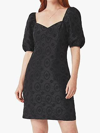 Ghost Saskia Embroidered Mini Dress, Black