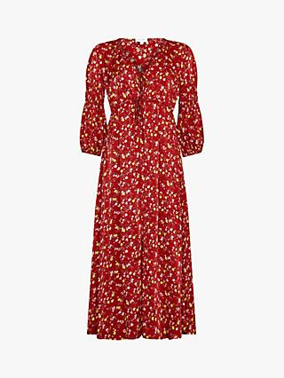 Ghost Clara Floral Tie Detail Midi Dress, Susie Spray Red