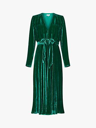 Ghost Reese Velvet Tie Belt Midi Dress, Green