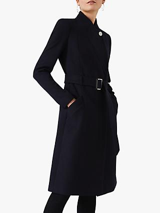 Phase Eight Susie Stand Up Collar Coat, Navy