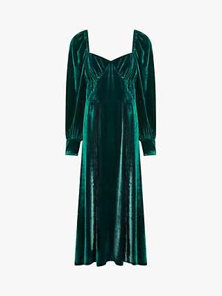 Ghost Averie Velvet Midi Dress, Paradise Green