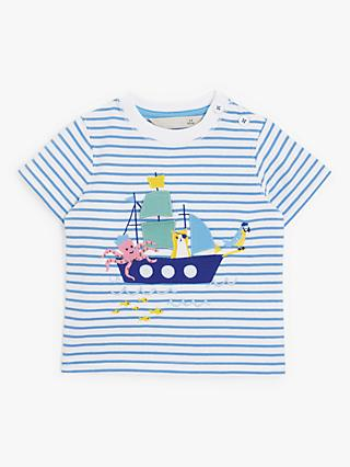 John Lewis & Partners Baby Pirate Boat Top, Blue/White