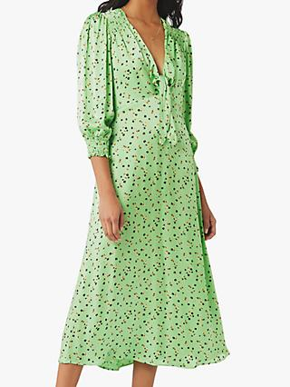 Ghost Lottie Satin Ditsy Print Dress, Panella