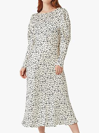 Ghost Rosaleen Spot Print Satin Dress, Hattie Holepunch