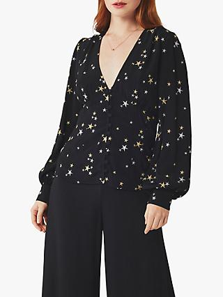 Ghost Amina Crepe Blouse, Black