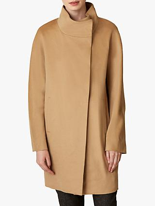 Jaeger Funnel Neck Wool Coat, Camel