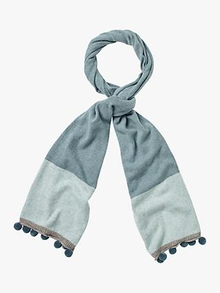 White Stuff Pippa Colourblock Scarf, Duck Egg