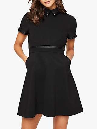 Damsel in a Dress Charlotte Tailored Faux Leather Detail Mini Dress, Black