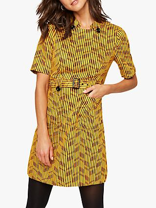Damsel in a Dress Doria Abstract Print Mini Dress, Yellow/Red