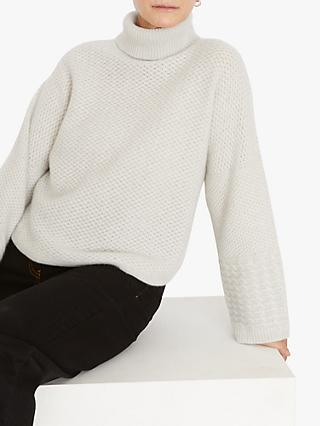 Jigsaw Cashmere Textured Roll Neck Jumper, Putty