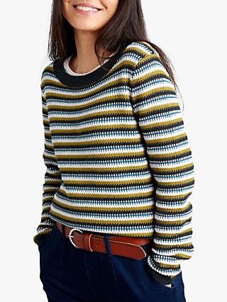 Seasalt Cornish Skies Stripe Jumper, Warbler Kelp
