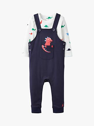 Baby Joule Wilbur Dinosaur Dungarees and Top Set, Navy