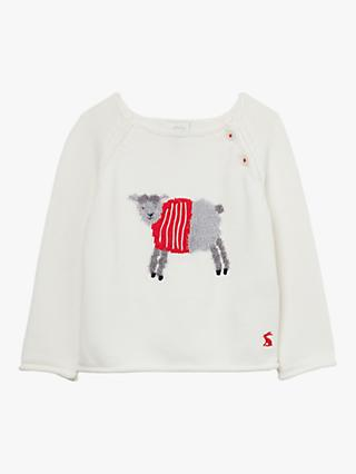 Baby Joule Intarsia Sheep Jumper, White