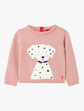 Baby Joule Ivy Intarsia Dalmatian Dog Jumper, Pink