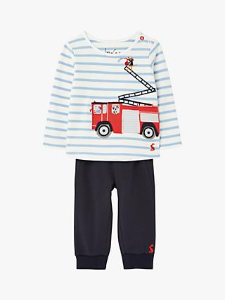Baby Joule Byron Fire Engine Top and Trousers Set, White