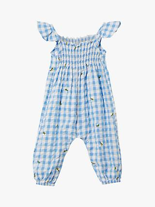 Baby Joule Riverton Bee Check Print Romper, Blue/White