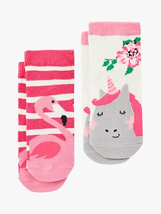 Baby Joule Neat Feet Unicorn Flamingo Socks, Pink