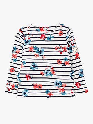 Baby Joule Harbour Floral Stripe Top, Blue/Red