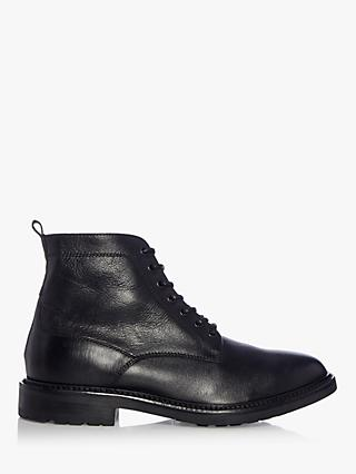 Dune Constrict Leather Round Toe Lace Up Casual Boots, Black
