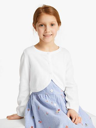 John Lewis & Partners Girls' Essential Shrug, White