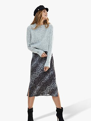 Mint Velvet Layered Animal Print Slip Dress, Grey/Multi