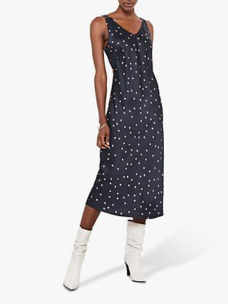 Mint Velvet Spot Satin Slip Dress, Multi