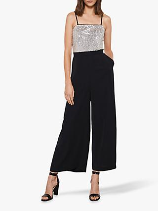 Mint Velvet Sequin Jumpsuit, Black/Silver