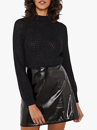 Mint Velvet Shiny Mini Skirt, Black