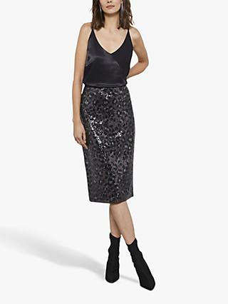 Mint Velvet Animal Sequin Midi Skirt, Multi