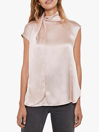 Mint Velvet Tie Neck Top, Pink