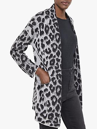 Mint Velvet Wool Alpaca Blend Leopard Print Open Cardigan, Grey/Multi