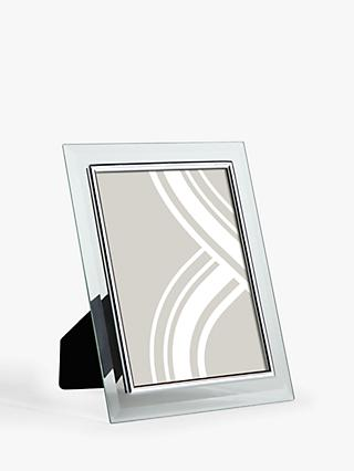 John Lewis & Partners Glass Border Photo Frame, Clear/Silver