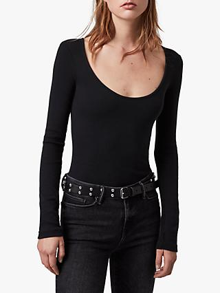 AllSaints Raffi Scoop Neck Bodysuit Top