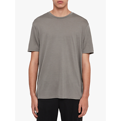 Image of AllSaints Aiden Wool Crew Neck T-Shirt, Putty Brown